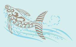 A whale swimming under the sea. A decorative whale swimming in the sea with bubble and water wave stock illustration