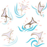 Whale Tail. A set of 6 decorative whale tail with water splash and wave Royalty Free Stock Photo