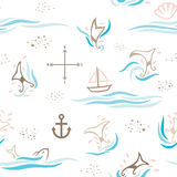 Whale Tail Dream Pattern. A seamless pattern of decorative whale tails, combining with other objects found mostly in the sea Royalty Free Stock Photography