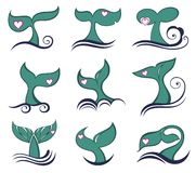 Whale tail icons set Royalty Free Stock Photography