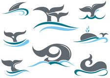 Whale tail icons Stock Photo