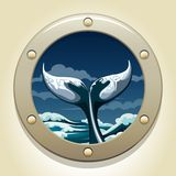 Whale tail. A  illustration of whale tail in a ship window Royalty Free Stock Images
