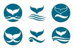 Whale Tail Logo. Whale tail monochrome logo set. Isolated on white background Royalty Free Stock Photo