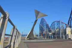 Whale tail sculpture on Blackpool Promenade, lancashire,Uk stock photography