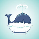 Whale take bath with soap suds. Funny whale in a bath. The whale take a bath with soap suds. Vector cartoon stock illustration