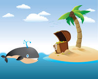 Whale with Treasure Island Stock Image