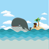 Whale with treasure island Stock Photo