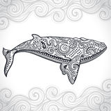 Whale with tribal ornaments Stock Images