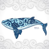 Whale with tribal ornaments Stock Photography
