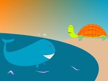 Whale and turtle Stock Image
