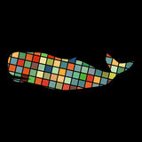 Whale undersea color silhouette animal. Vector Illustrator Royalty Free Stock Image