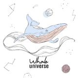 Whale universe wall poster. Modern space decoration with huge galaxy, planets, moon and ocean animals vector background vector illustration