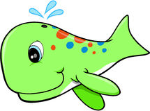 Whale Vector Illustration. Cute Green Whale Vector Illustration Stock Images