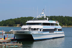 Whale watching boat in historic Bar Harbor Stock Photography