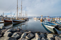 Whale watching boat in Husavik Stock Photography