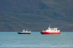 Whale Watching boats in Eyjafjordur Iceland Royalty Free Stock Photos
