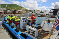 Whale Watching. The Harbour of Husavik, a wonderful place for starting a Whale Watching Tour. Iceland stock photography