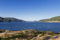 Whale watching in Tadoussac stock photo