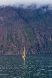 Whale watching tours from old sailing ship at Husavik bay area. North Iceland Stock Photography