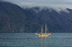 Whale watching tours from old sailing ship at Husavik bay area Royalty Free Stock Photo