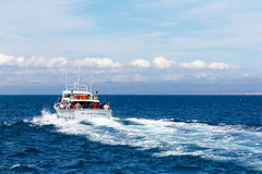 Whale watching vessel Stock Images
