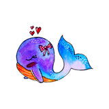 Whale watercolor. With bow and hearts Royalty Free Stock Photos