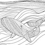 Whale in the waves for anti stress coloring page. Stock Image