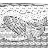 Whale in the waves for anti stress coloring page. Stock Photo