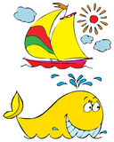 Whale and yacht. Vector clip-art / children's illustration for your design Stock Photos