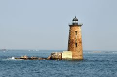 Whaleback Light. Off of Kittery Point, between New Hampshire and Maine stock images