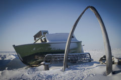 Whalebone Arch of Barrow Alaska. The famous landmark Whalebone Arch in Barrow Alaska, The Northernmost City in the United States. Taken in the winter during the Stock Photos