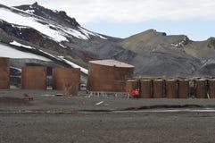 Whaler`s Bay, Antarctica. Old buildings at Whaler`s Bay, Deception Island, Antarctica. Dec, 2016 Stock Images