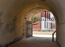 Whaler's Tunnel Underground: Fremantle, Western Australia. FREMANTLE,WA,AUSTRALIA-NOVEMBER 19,2015: Limestone Whaler's Tunnel with metal gate, historic site at Royalty Free Stock Photography