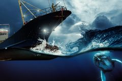 Whaler ship hunting a whale at the blue stormy sea illustration. Environmental protection and seafare concept.  stock image