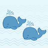 Whales. Illustration of two whales with pattern fills Stock Photos