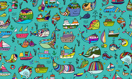 Free Whales And Ships, Seamless Pattern For Your Design Royalty Free Stock Images - 76187269