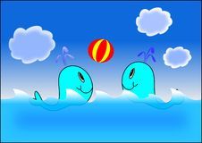 Whales and ball. Nature animal children water whale royalty free illustration