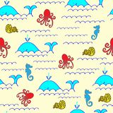 Whales, fish, waves, octopus, nautilus, seahorse seamless patter stock illustration