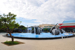The whales(Installation art)in a wading pool. The National Museum of Marine Biology and Aquarium (NMMBA) is located within Kenting National Park of Pingtung Stock Photo