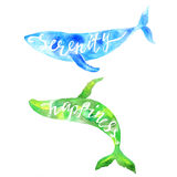 Whales with lettering Serenity and Happiness. Stock Photos