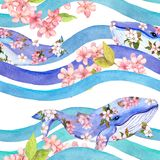 Whales in pink flowers in waves, stripes. Seamless pattern. Watercolor. Whales with pink flowers in waves, stripes. Seamless pattern. Watercolor royalty free stock image