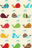 Whales retro seamless pattern Stock Image