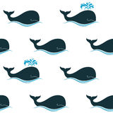 Whales seamless background. Seamless pattern with whales and their blow spouts Royalty Free Stock Images