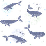 Whales seamless. Beautiful seamless wallpaper with cute whales on a white background Stock Photo