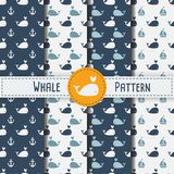 Whales Seamless pattern on blue background  illustration. Sea pattern, Kids pattern for print, textile, wrapping, wallpapers, web background, cover, banner Stock Photo