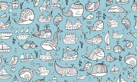 Whales and ships, seamless pattern for your design Royalty Free Stock Images