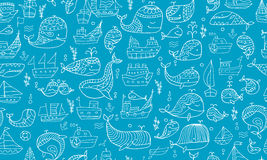 Whales and ships, seamless pattern for your design. Vector illustration Royalty Free Stock Images