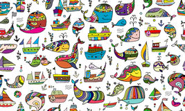 Whales and ships, seamless pattern for your design Royalty Free Stock Photography