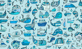 Whales and ships, seamless pattern for your design. Vector illustration Stock Photography