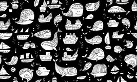 Whales and ships, seamless pattern for your design Stock Photos